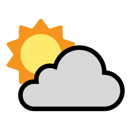 Sun Half visible ahead of Clouds